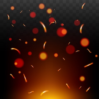 Faíscas de fogo vermelho voando. queima de partículas brilhantes. ilustração