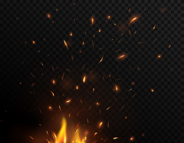 Faíscas de fogo voando para cima, fogueira queimando partículas amarelas e laranja brilhantes. tempestade de fogo, chamas de fogo realistas com faíscas voando no ar em um fundo preto e transparente