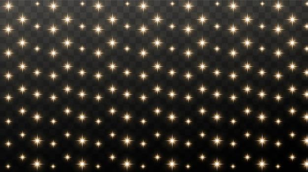 Faíscas de ouro e estrelas douradas brilham com um efeito de luz real. a explosão do confete dourado.