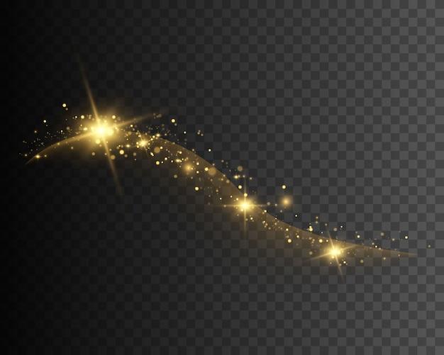Faíscas de poeira e estrelas douradas brilham com luz especial