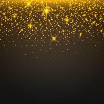 Faíscas douradas e estrelas douradas brilham com um efeito de luz especial.