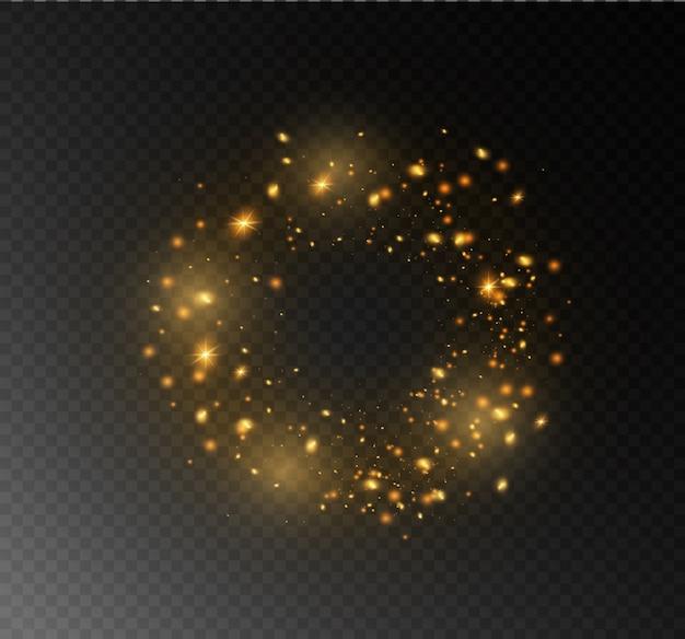 Faíscas e estrelas amarelas brilham com luz especial. partículas de poeira mágica cintilantes. o efeito de um clarão com um feixe de luz e brilho mágico. um cometa no céu.