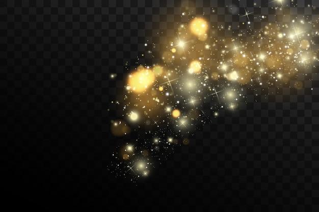Faíscas e estrelas douradas brilham com efeito de luz especial.