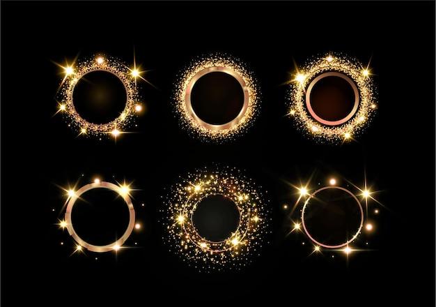 Faíscas e estrelas douradas brilham com um efeito de luz especial. banner dourado para anunciar o natal