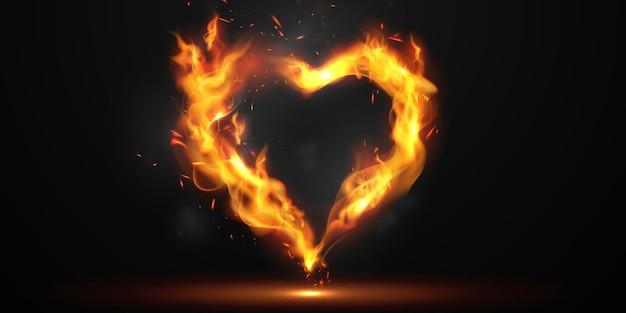 Faíscas em forma de coração flutuando e com chamas
