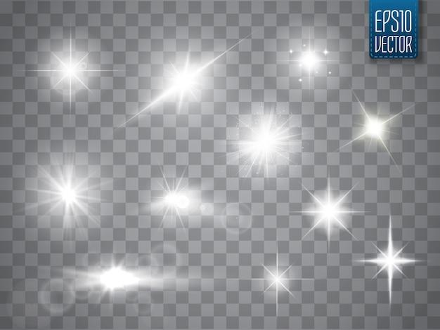 Faíscas isoladas. estrelas brilhantes do vetor. alargamentos e brilhos da lente