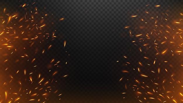 Faíscas voadoras de fogo com um fundo transparente