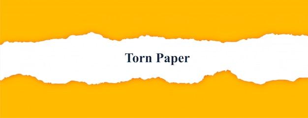 Faixa amarela com papel rasgado branco rasgado