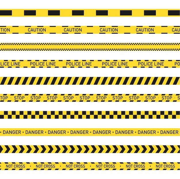 Faixa amarela e preta de advertência, linha policial, não cruzada, perigo.
