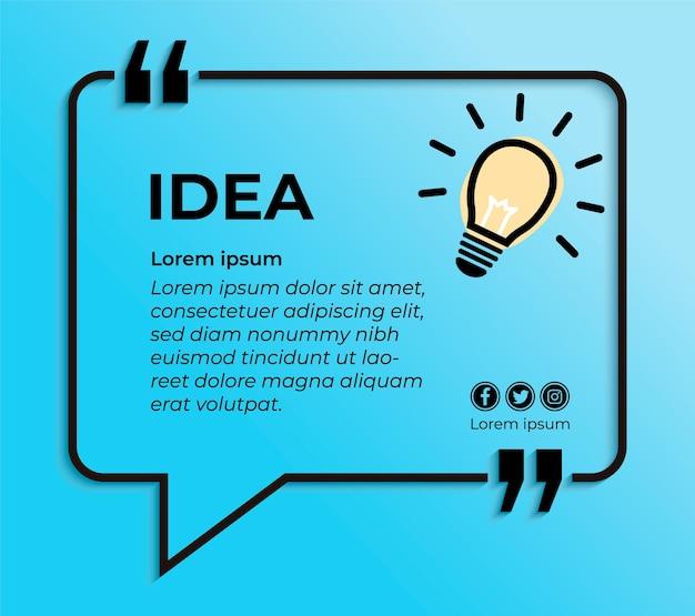 Faixa azul para orçamento com lâmpada bulbo