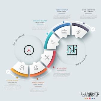 Faixa branca de papel curva dividida em 6 setores ou partes com setas ou ponteiros com ícones de linhas finas dentro e caixas de texto. modelo de design criativo infográfico. para brochura.