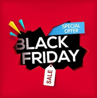 Faixa da sexta-feira negra buraco rachado na parede com a inscrição da sexta-feira negra venda e desconto