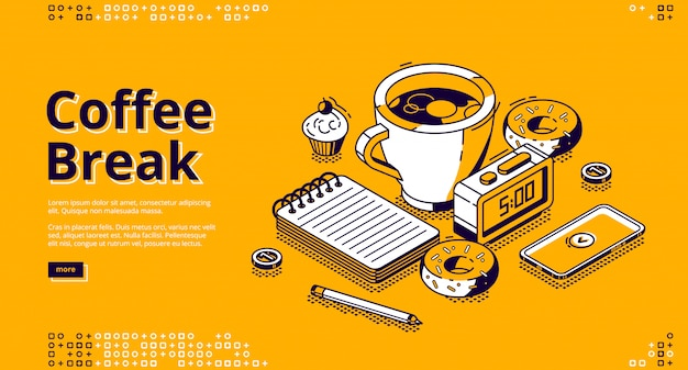 Faixa de café isométrica, banner web
