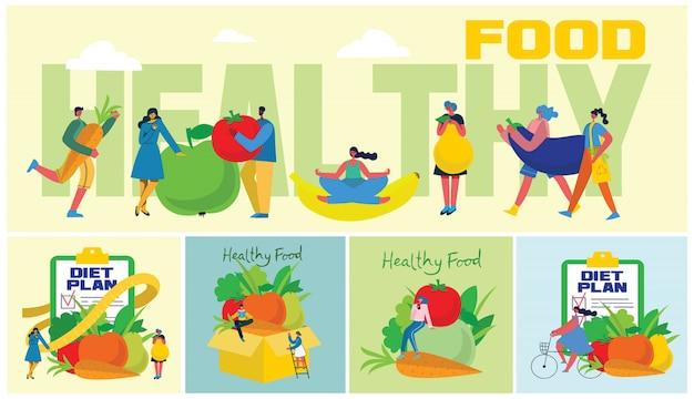 Faixa de comida, dieta, estilo de vida saudável e perda de peso com um prato de salada, jogo de mesa, smartphone e plano de dieta em um notebook