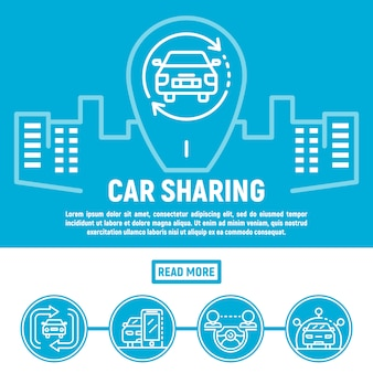 Faixa de compartilhamento de carro da cidade, estilo de estrutura de tópicos