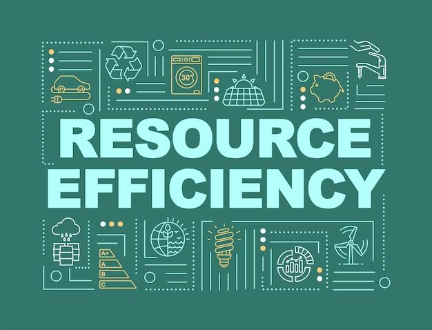 Faixa de conceitos de palavra de eficiência de recursos. infografia de rentabilidade e sustentabilidade com ícones lineares em fundo verde escuro. tipografia isolada. ilustração de cor rgb de contorno vetorial