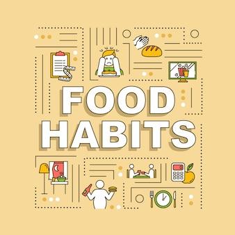 Faixa de conceitos de palavra de hábitos alimentares. nutrição saudável e insalubre, dieta e excessos. infográficos com ícones lineares em fundo laranja. tipografia isolada. ilustração de cor rgb de contorno vetorial