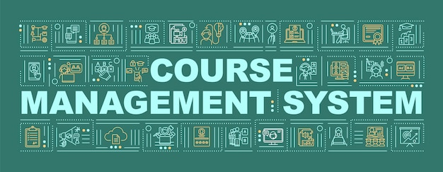 Faixa de conceitos de palavra de sistema de gerenciamento de curso. ensino profissional à distância. infográficos com ícones lineares sobre fundo verde. tipografia isolada. contorno rgb ilustração colorida