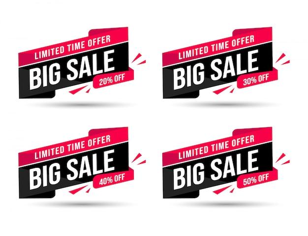Faixa de desconto de oferta especial de mega venda preta por tempo limitado