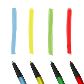 Faixa de destaque de cor, linha de pincéis de marcador desenhado.