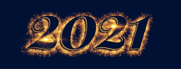 Faixa de efeito de texto 2021 brilhos dourados feliz ano novo
