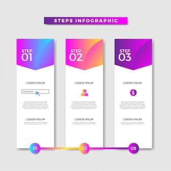 Faixa de etapas de infográfico