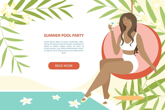 Faixa de festa na piscina de verão. mulher sentada com coquetel perto da piscina