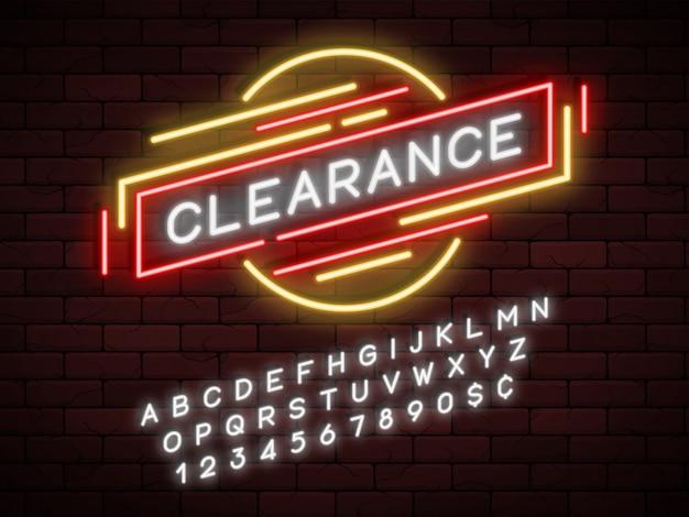 Faixa de fita de promoção linear de luz neon, etiqueta de preço, desconto