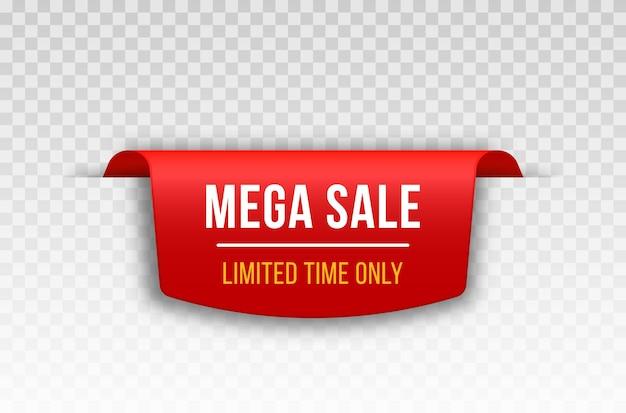 Faixa de fita vermelha em branco para decoração de título de título de texto de promoção de promoção