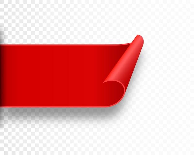 Faixa de fita vermelha em branco para publicidade, promoção, venda, título, título, decoração, distintivo