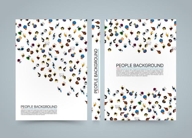 Faixa de fundo de pessoas, vista de cima livro em branco de funcionários de escritório, tamanho a4, vecto