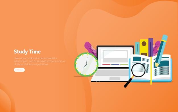 Faixa de ilustração de estudantes de tempo de estudo