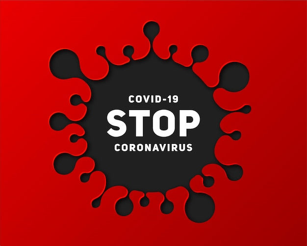 Faixa de informações sobre a doença de coronavírus 2019-ncov. pare a doença infecciosa covid-19. arte de papel da silhueta do vírus e do texto. epidemia global ameaça a saúde das pessoas