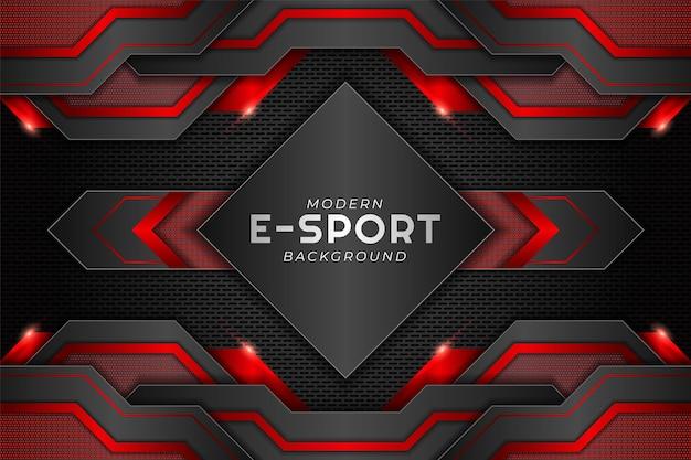 Faixa de jogos moderna esport metálico vermelho brilhante com fundo escuro