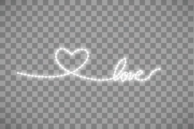 Faixa de led brilhante em forma de coração em transparente.