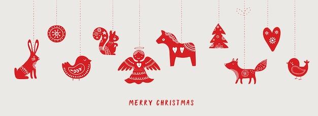 Faixa de natal desenhada à mão em estilo escandinavo