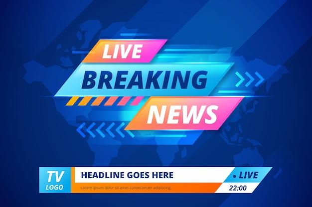 Faixa de notícias de última hora de transmissão ao vivo