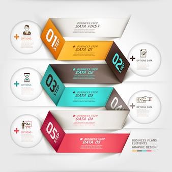 Faixa de opções de estilo de origami de diagrama de negócios modean.