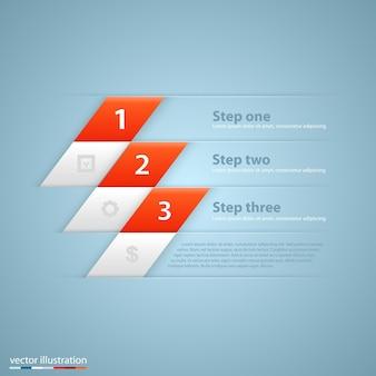 Faixa de opções de estilo origami de etapas de negócios modernos