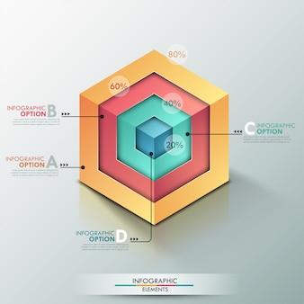 Faixa de opções de infografia moderna 3d com cubo realista