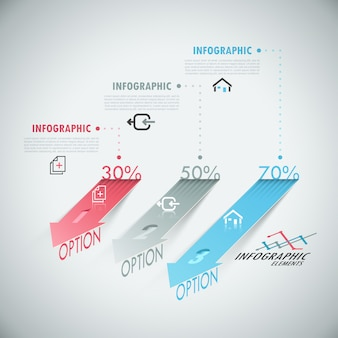 Faixa de opções de infografia moderna 3d com setas realistas