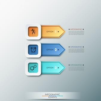 Faixa de opções de infografia moderna 3d com setas
