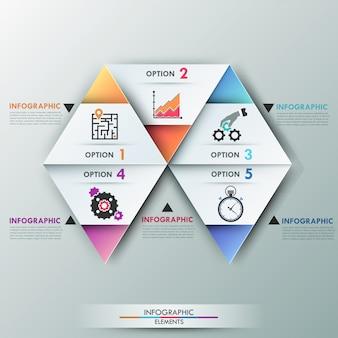 Faixa de opções de infografia moderna 3d com triângulos