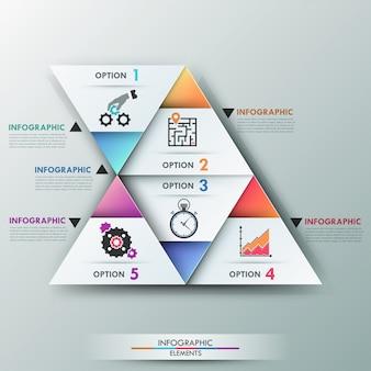 Faixa de opções de infografia moderna 3d