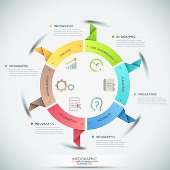 Faixa de opções de infografia moderna com 6 fitas