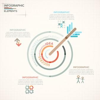 Faixa de opções de infografia moderna com alvo colorido