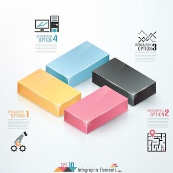 Faixa de opções de infografia moderna com blocos coloridos 3d