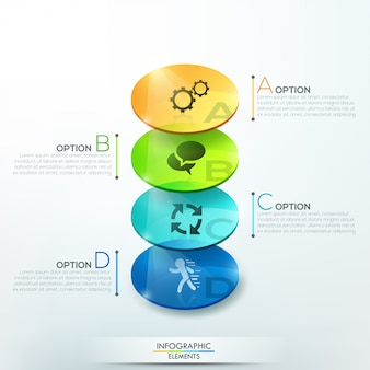 Faixa de opções de infografia moderna com círculos de vidro