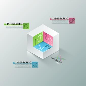 Faixa de opções de infografia moderna com cubo branco realista