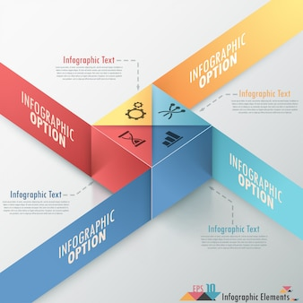 Faixa de opções de infografia moderna com cubo colorido realista
